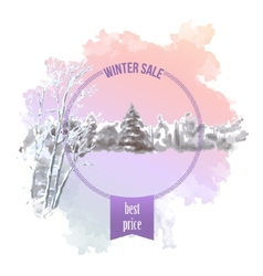 Watercolor Splash Winter Landscape vector