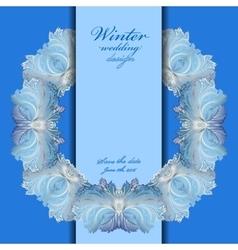 Wedding wreath frame design winter frozen glass vector