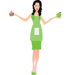 woman in green dress vector image