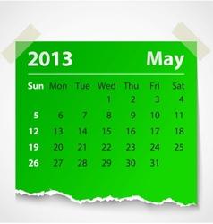 2013 calendar may colorful torn paper vector image