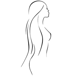 beautiful woman - black line drawing vector image vector image