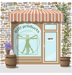 Bio products shop organic products store vector
