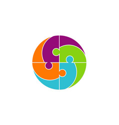 Circle people puzzle logo vector