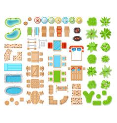 landscape elements top view vector image