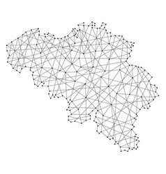 map of belgium from polygonal black lines vector image