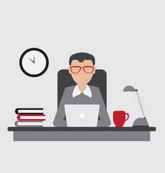 office worker sitting at the table and working vector image