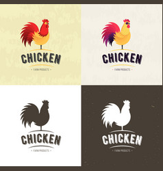 set of chicken farm meat logo badges banners vector image vector image