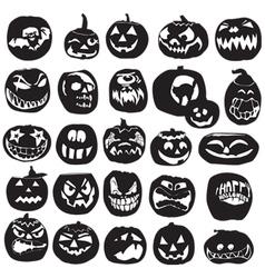 silhouettes of Halloween pumpkin vector image vector image
