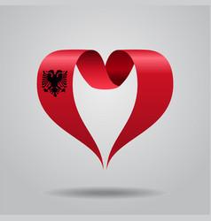albanian flag heart-shaped ribbon vector image vector image