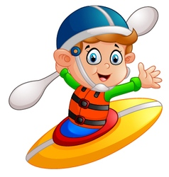 boy Maneuvering a Kayak vector image