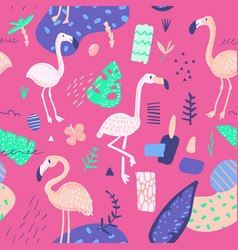 childish summer seamless pattern with flamingo vector image