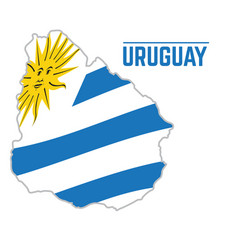 flag and map of uruguay vector image