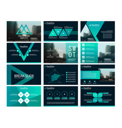 green abstract triangle presentation templates vector image vector image