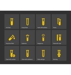 Laboratory test tube icons vector image