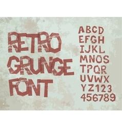 Retro grunge font with alphabet vintage vector image vector image
