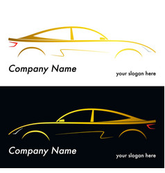 silhouette of a yellow car vector image