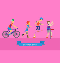 sport set of man and woman going in for sport vector image