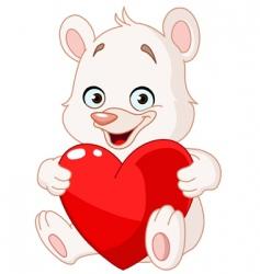 teddy bear holding heart vector image