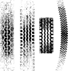 a collection of 4 grunge tire tracks negative and vector image vector image