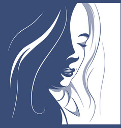 a girl with curly hair vector image