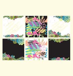 floral set succulent hand drawn design vector image vector image