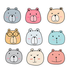 hand drawn cute bear characters set vector image vector image
