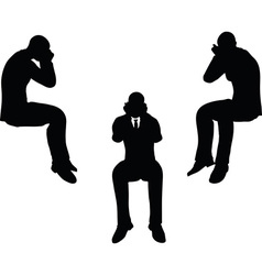 man silhouette in sorrowful pose vector image