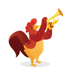 Musical animals Rooster Trumpet vector image