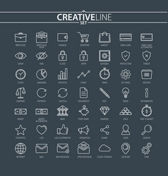 outline business and finance icons vector image vector image