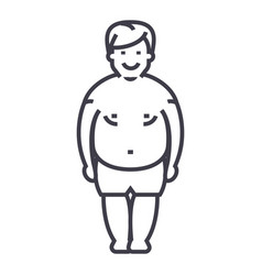 fatty manfat guy line icon sign vector image