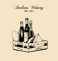 hand draw vintage set of cheese and wine vector image vector image