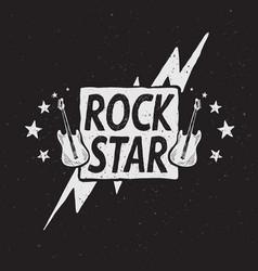 rock star grunge label vector image
