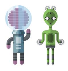 Set of different funny cartoon monsters cute alien vector