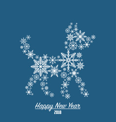 2018 new year card with dog made from snowflakes vector image