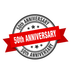 50th anniversary label 50th anniversaryround band vector