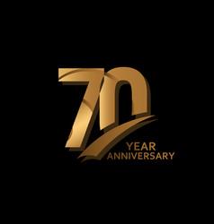 70 years gold elegant anniversary celebration vector