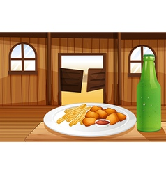 A table with a plate of food and a soda vector