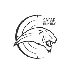 African safari poster with lion or tiger for vector