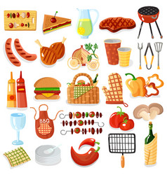 barbecue accessories stylish icons collection vector image