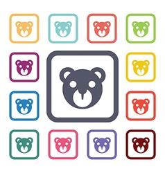 Bear flat icons set vector