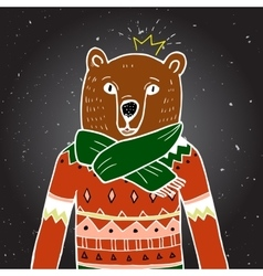 Bear in red sweater vector