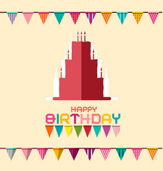 Birthday celebration design with flags and paper vector