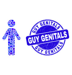 Blue grunge guy genitals stamp seal and person vector