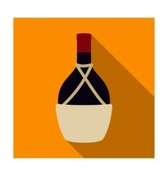Bottle of wine icon in flat style isolated on vector image