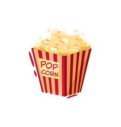 box of popcorn tasty snack symbol of cinema or vector image