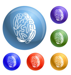 brain concept icons set vector image