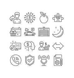 Business growth quick tips and pay icons parking vector