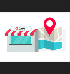 Cafe or store location with pin pointer and vector