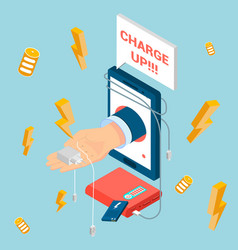 charger isometric composition vector image
