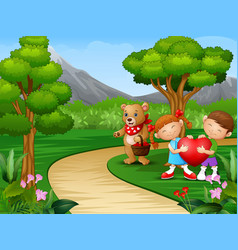 Childrens cartoon celebrate valentine day with bea vector